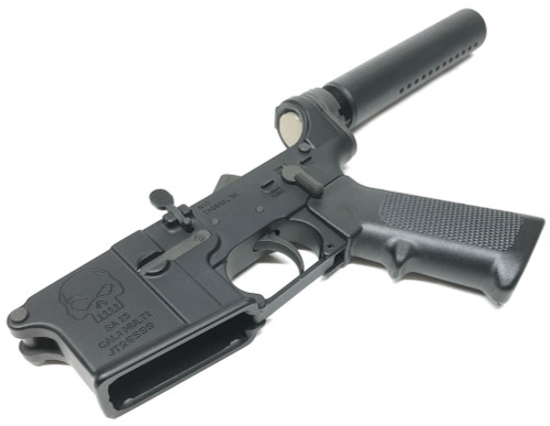 SAA - SA-15 Skull Logo Forged AR15 Complete Lower with KAK Pistol Tube SAA-SA15SK-PL