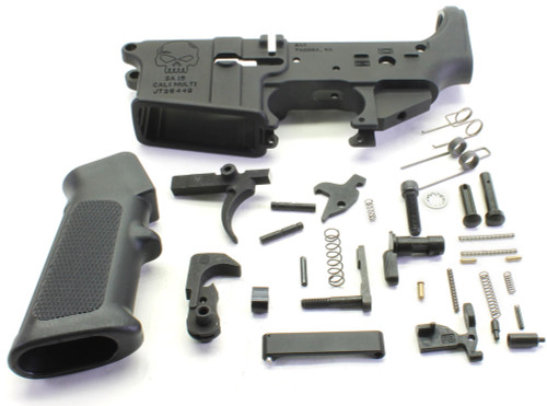 SAA SA15 Skull Logo AR15 Stripped Lower Receiver + Lower Parts Kit - Unassembled SAA-SA15SK-STPD+LPK