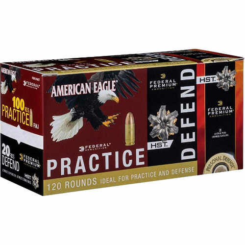 380 Auto 95 Grain FMJ & 99 Grain JHP Federal American Eagle & Hydra Shock Combo Pack - 120 Rounds