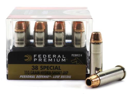 Surplus Ammo | Surplusammo.com 38 Special 110 Grain Hydra-Shok JHP Federal Premium PD Low Recoil - 20 Rounds
