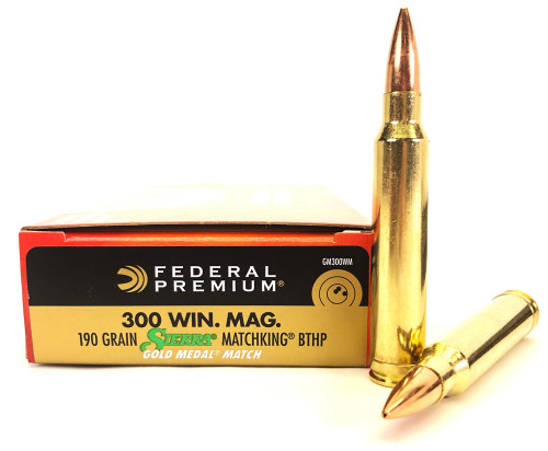 .300 Win Mag 190 Grain Sierra Matchking HP-BT Federal Gold Medal Match FDGM300WM20