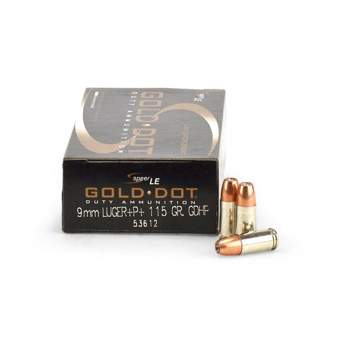 Surplus Ammo | Surplusammo.com 9mm 115 Grain +P+ GDHP Speer CCI Gold Dot Law Enforcement