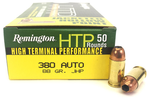 380 Auto 88 Grain HTP JHP Remington Ammunition - 50 Rounds RTP380A1