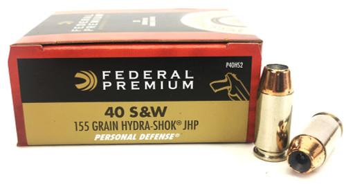 40 S&W 155 Grain Hydra-Shok JHP Federal Premium - 20 Rounds FDP40HS2