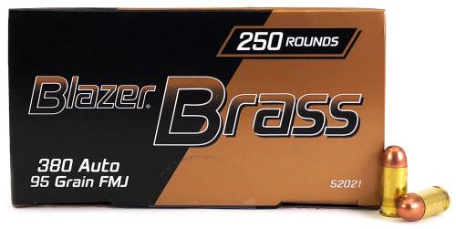 380 Auto 95 Grain FMJ CCI Blazer Brass 52021 - 1000 Rounds CC52021
