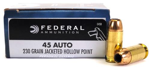 45 ACP 230 Grain JHP Federal Personal Defense Ammunition C45D FC45D