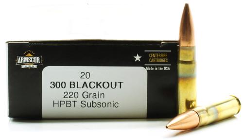 300 AAC Blackout 220 Grain HPBT Subsonic Armscor USA AC300AAC-3N