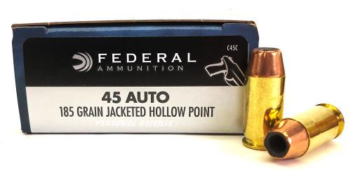 45 ACP 185 Grain JHP Federal Ammunition - Personal Defense C45C FC45C