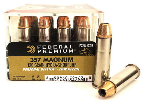 357 Magnum 130 Grain JHP Hydra-Shok Federal Premium Personal Defense Low Recoil PD357HS2H
