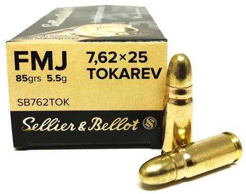 7.62x25 Tokarev 85 Grain FMJ Sellier & Bellot SB762TOK