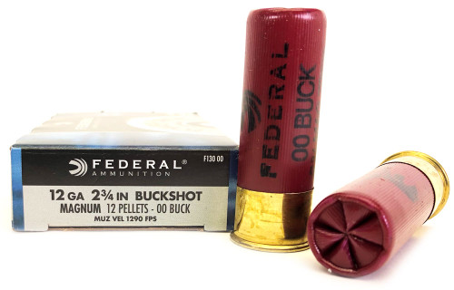 "12 Gauge Federal Power Shok MAGNUM 2 3/4"" 00 Buckshot 12 Pellet FDF13000"