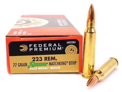 .223 77 Grain Sierra MatchKing BTHP Federal Premium Gold Medal Ammunition FDGM223M3