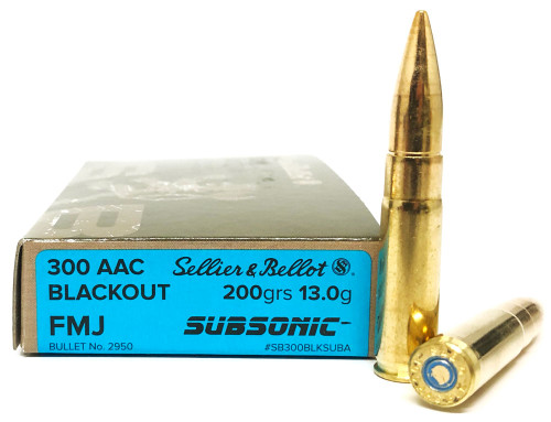 300 AAC Blackout 200 Grain FMJ SUBSONIC Sellier & Bellot SB300BLKSUBA