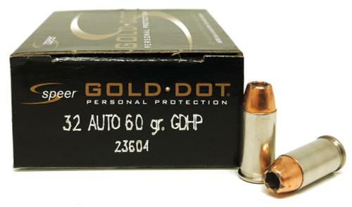 32 Auto 60 Grain GDHP Speer CCI Gold Dot Law Enforcement 23604 CCI23604