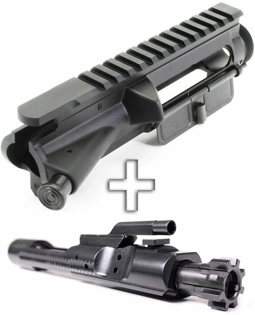 SAA Forged AR15 Assembled No-Mark Flat Top Upper Receiver - Fwd Assist+Dust Cover + Nitride 5.56 BCG SAAUP035-SAABP018