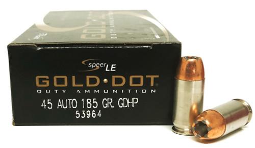 45 ACP 185 Grain Gold Dot HP Speer LE 53964 GDHP-53964