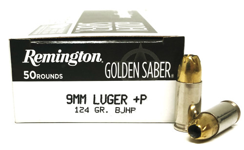 9mm 124 Grain +P BJHP Remington Golden Saber HPJ GS9MMDB
