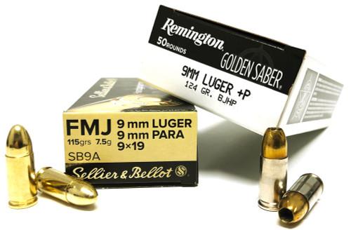 9mm 115gr FMJ S&B + 9mm 124gr+P BJHP-HPJ Remington COMBO SB9A-GS9MMDB