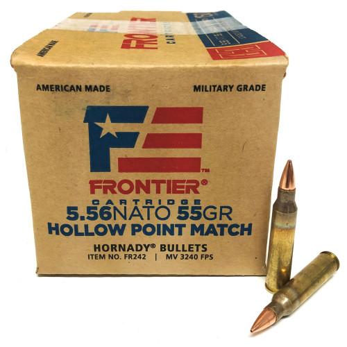 5.56 55 Grain Hollow Point Match FRONTIER with Hornady Bullets HFR242