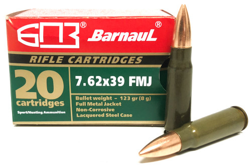 7.62x39 123 Grain FMJ Barnaul with Lacquered Case BARN762X39FMJ123