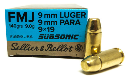 9mm 140 Grain FMJ Subsonic Sellier & Bellot SB9SUBA