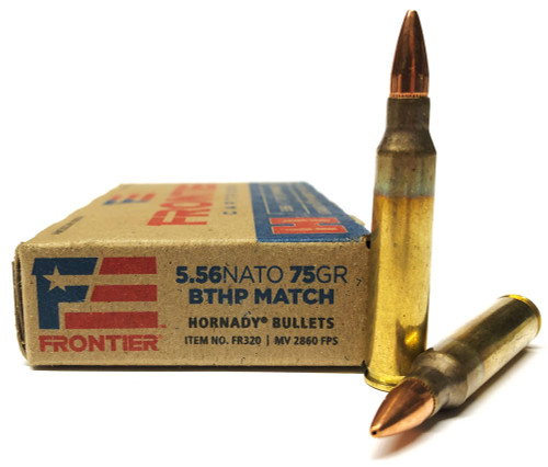 5.56 75 Grain BTHP Match T2 FRONTIER with Hornady Bullets HFR320
