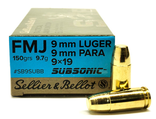 9mm 150 Grain FMJ Subsonic Sellier & Bellot SB9SUBB