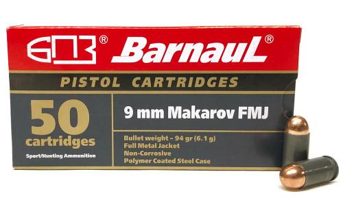 9x18 Makarov 94 Grain FMJ Barnaul BRN9mmMakarovFMJ94