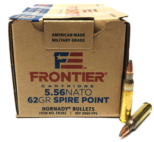 5.56 62 Grain Soft Point Match FRONTIER with Hornady Bullets HFR282
