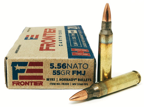 5.56 55 Grain FMJ (M193) FRONTIER with Hornady Bullets HFR200