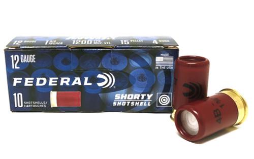 "12 Gauge Federal SHORTY Shotshells 1-3/4"" #4 Buck, 15 Pellets FSH129"