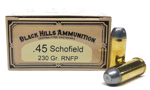 45 Schofield 230gr Round Nose Flat Point Lead Black Hills Cowboy Action BHDCB45SCHON1