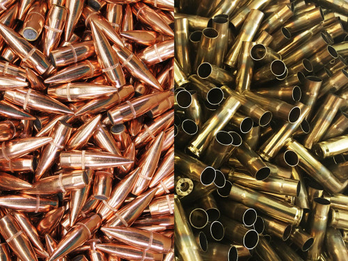 .30 Cal. BULLETS + 300AAC BRASS 500cnt. Each - Armscor 147gr FMJ-BT Bullets + New Unprimed BRASS AC308147FMJ-AC300BLKBRASS-500