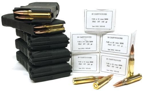7.62x51 NATO 145gr FMJBT M80 Ball PRVI Partizan 100rds + 5 Magpul M3 20rd 308/7.62NATO Black PMAGs PPN762B100rd-MAG291x5