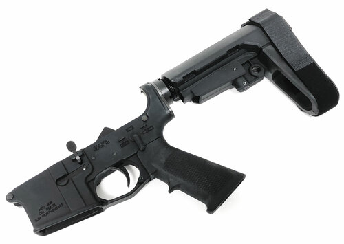 SAA AR15 Complete FORGED Lower Receiver, SBA3 Pistol Black - No Logo SAA-MONT406LPSBA3WNTR-BLK
