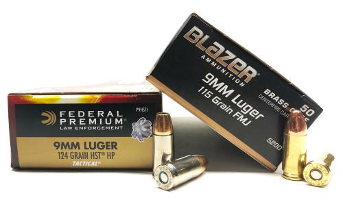 9mm 115gr FMJ CCI BlazerBrass + 9mm 124gr HST JHP Federal - 500rd COMBO CC5200+FDP9HST1