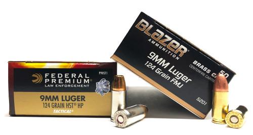 9mm 124gr FMJ CCI BlazerBrass + 9mm 124gr HST JHP Federal - 500rd COMBO CC5201+FDP9HST1