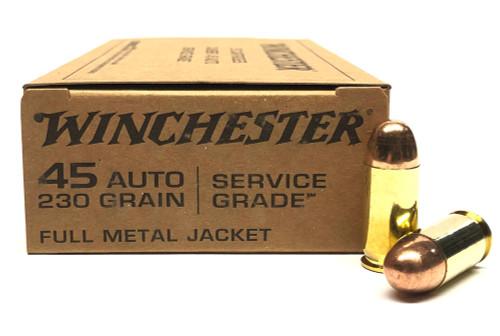 45 ACP 230 Grain FMJ Winchester Service Grade - 50 Rounds SG45W