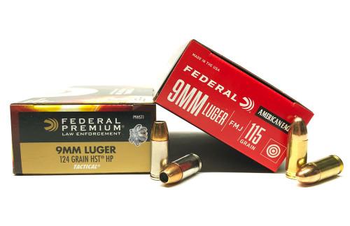 9mm 115gr FMJ Federal AE9DP + 9mm 124gr HST JHP Federal - 500rd COMBO FDAE9DP+FDP9HST1-500