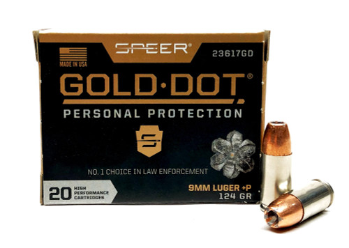 9mm 124 Grain GDHP +P Speer Gold Dot 23617GD - 20 Rounds CC23617GD