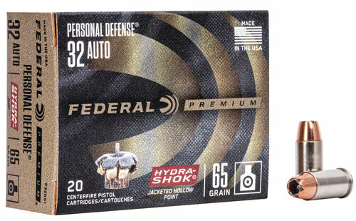 32 Auto 65 Grain Hydra-Shok JHP Federal Premium FDP32HS1