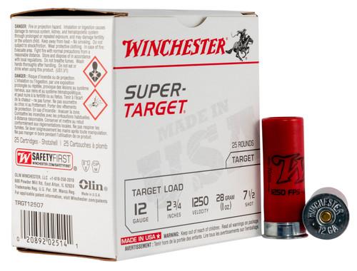 """12 Gauge Winchester Super Target Load 2 3/4"""" 1oz #7.5 Shot TRGT12507- 25 Rounds TRGT12507-7.5"""