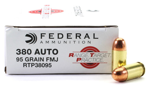 380 Auto 95 Grain Full Metal Jacket Federal Range.Target.Practice Ammunition