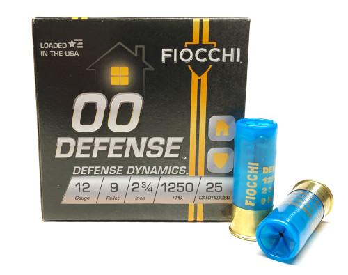 """12 Gauge FIOCCHI 2 3/4"""" 00 Buck 9 Pellets Defense Dynamics 12EX00BK - 25 Rounds 12EX00BK"""