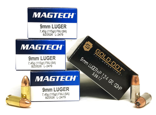 9mm 115gr Ball Magtech 150rd + 9mm 124gr+P Speer GDHP JHP 50rd - COMBO - 200rds total 9A+53617-200