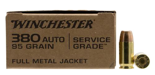 380 Auto 95 Grain FMJ Winchester Service Grade Ammunition  WINSG380W