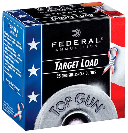 """12 Gauge Federal Top Gun Special Edition Red, White & Blue 2 3/4"""" 1 1/8oz. #8 Shot TGL12US8 - 25 Rounds FDTGL12US8"""