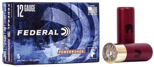 "12 Gauge Federal Power-Shok 2 3/4"" 000 Buckshot 9 Pellet - 5 Rounds FDF127000"
