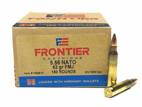 5.56 62 Grain FMJ FRONTIER with Hornady Bullets - 150 Rounds HFR2615