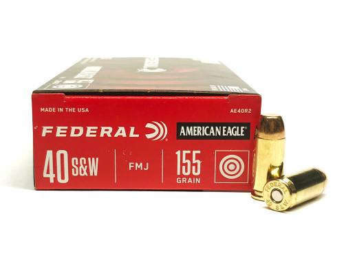 40 S&W 155 Grain FMJ Federal American Eagle Ammunition - 50 Rounds FDAE40R2